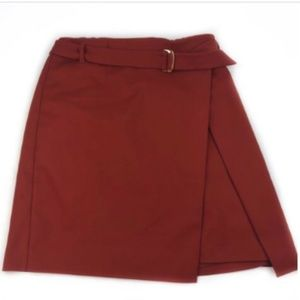 WHBM Skirt 6 Burnt Orange Faux Wrap Belted A Line